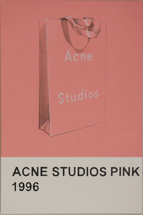 Acne Pink bag original painting on canvas from Anne-Marie Ellis Contemporary art artwork at Deep West Galle