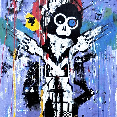 UFO spray painting from Zsolt Gyarmati Street (Graffiti ) original artwork at Deep West Gallery