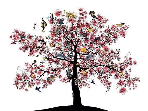 Bleika Sakura Candy Floss tree print, Urban and Street art by Kristjana S Williams at Deep West Gallery