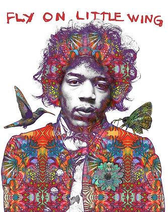 Jimi Hendrix musican Portrait, Giclee print, Street art by Dean Russo at Deep West Gallery