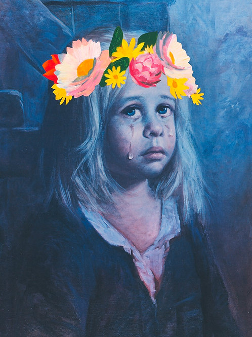 Crying girl, flower crown print, contemporary  art and pop art by Haus of Lucy at Deep West Gallery