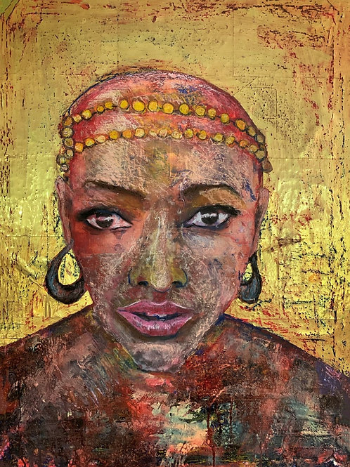 African girl original painting, urban art from Pav Szymanski at Deep West Gallery