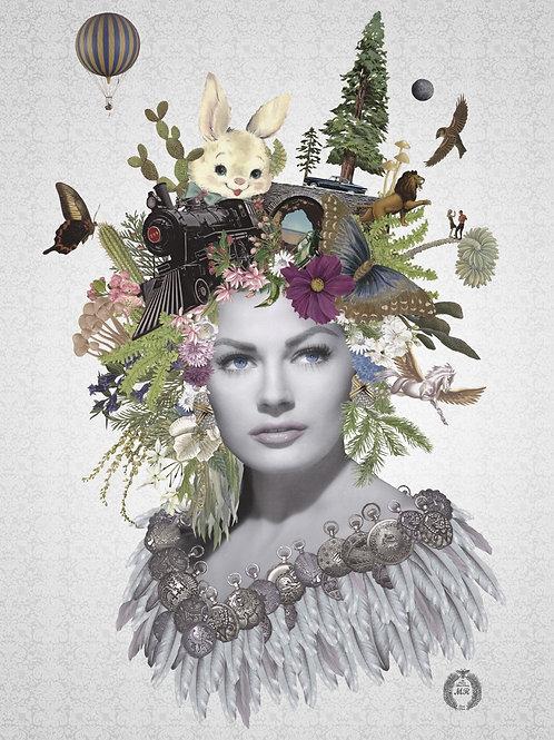 Anita Ekberg Portrait  collage print - Maria Rivans artwork at Deep West Gallery