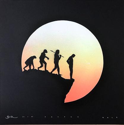 human revolution in black , spray painting from Otto Schade Street (Graffiti ) artwork at Deep West Gallery