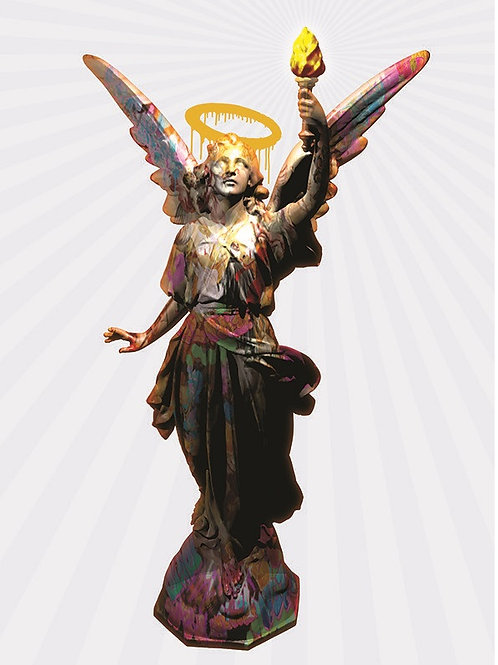 The statue of Angel Lucy giclee print, digital art & Pop art by David Williamson at Deep West Gallery