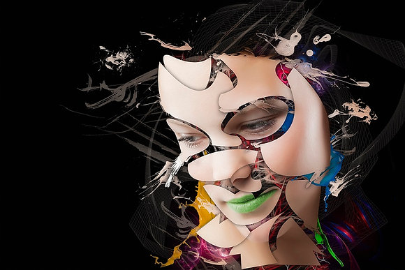 beauty portrait from Erik Brede' s abstract artwork ( digital artworks )at Deep West Gallery