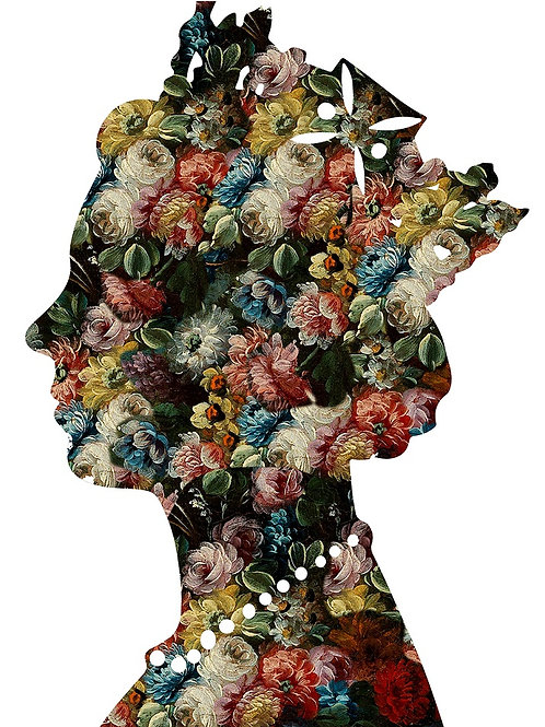 Flower Elizabeth Queen portrait in white, Urban art by Agent X at Deep West Gallery