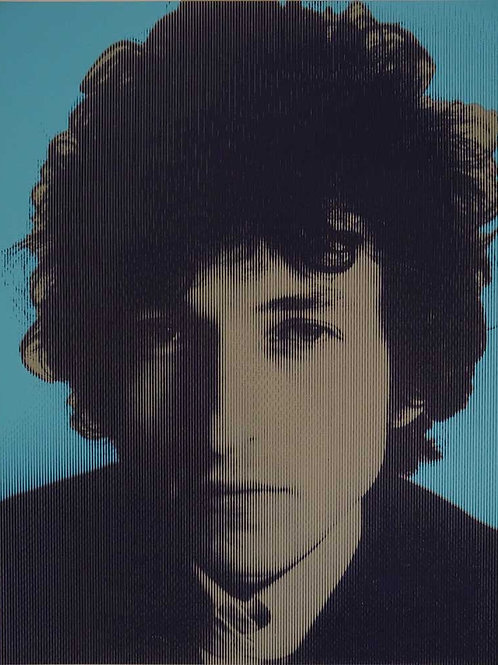 Bob Dylan portrait silk print, urban art by David Studwell at Deep West Gallery