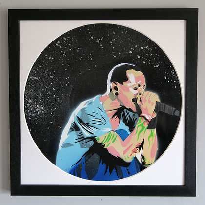 Chest Bennington, Spray Painting and Stencil on Vinyl Record, Street art, by Anna Jaxe at Deep West Gallery