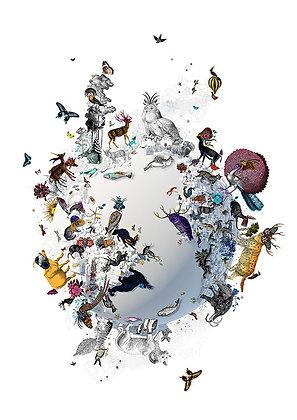 Butterflies, flowers and birds on Globe print, Urban and Street art by Kristjana S Williams at Deep West Gallery