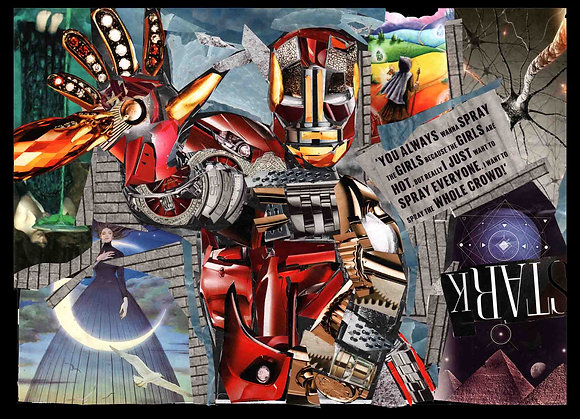 Ironman's portrait print from Glil Collage artwork at Deep West Gallery