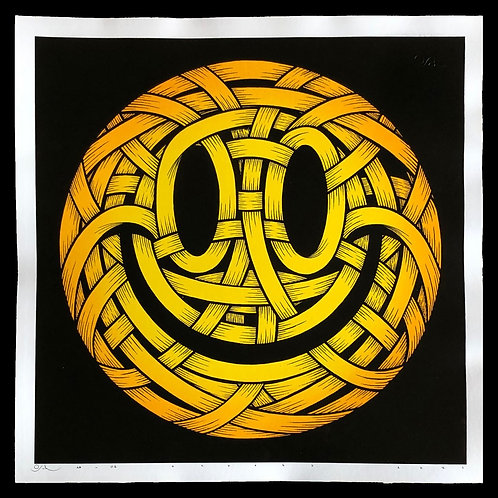 Acid Smiley ribboned face screen print  from Otto Schade Street (Graffiti ) artwork at Deep West Gallery