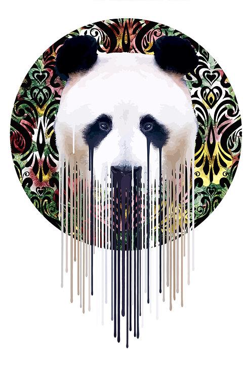 Panda, flowers , Giclee print, Pop art, Urban art,  by Carl Moore at Deep West Gallery