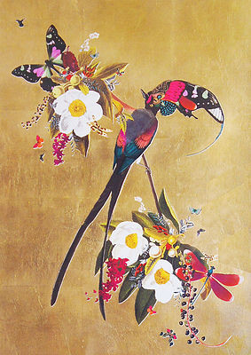 birds, flowers and leaves