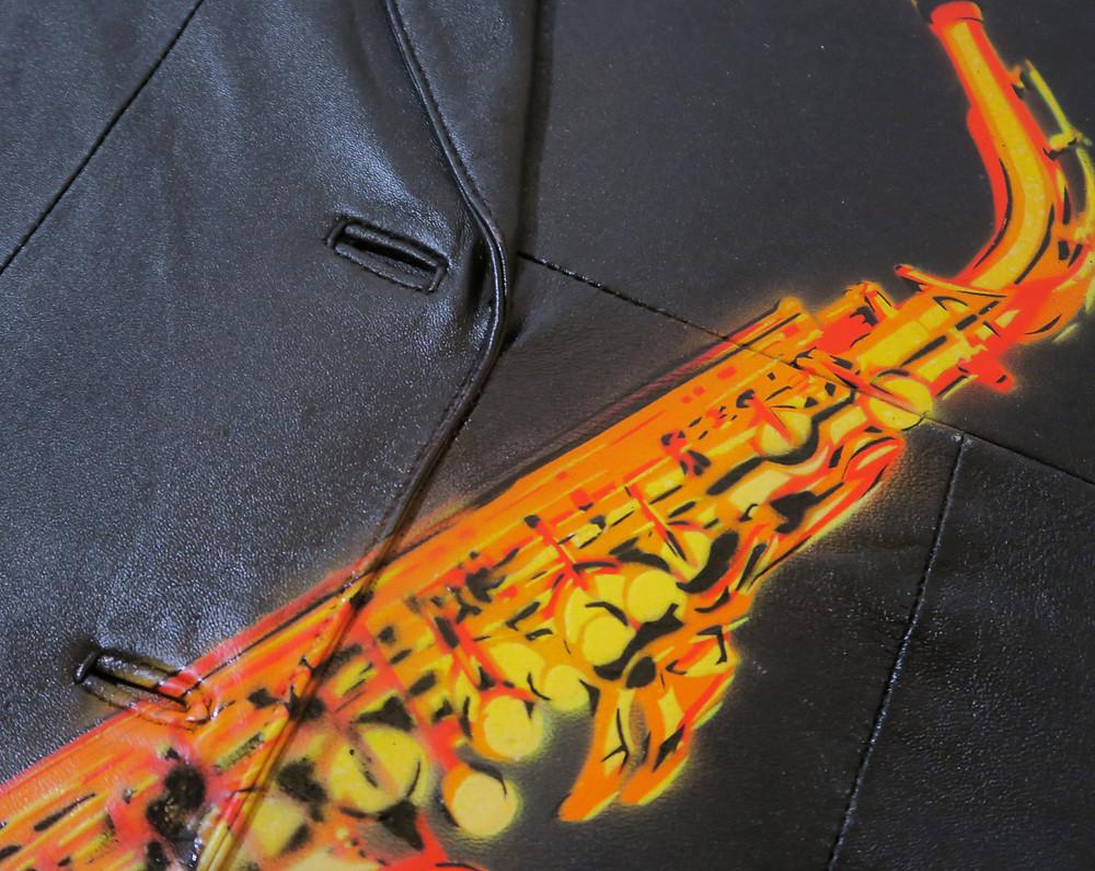 paintings on black jacket