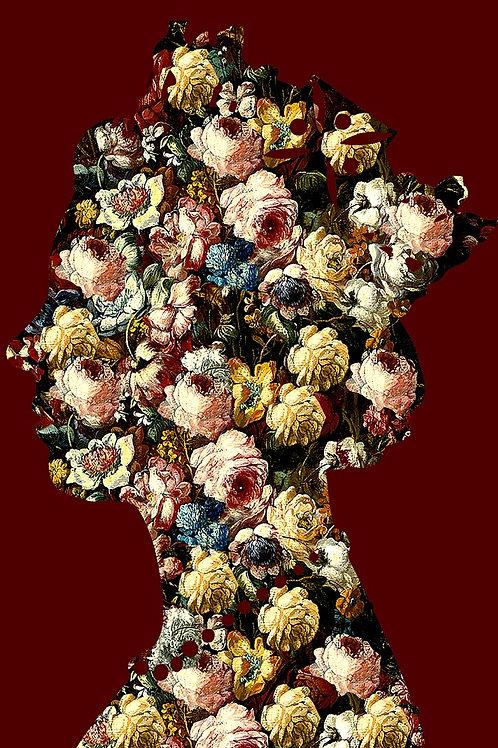 Flower Elizabeth Queen portrait in red, Urban art by Agent X at Deep West Gallery