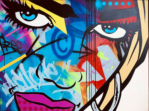 Dua Lipa, original painting by graffiti artist  machOne at Deep West Gallery