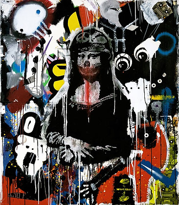 Monalisa  spray painting from Zsolt Gyarmati Street (Graffiti ) original artwork at Deep West Gallery