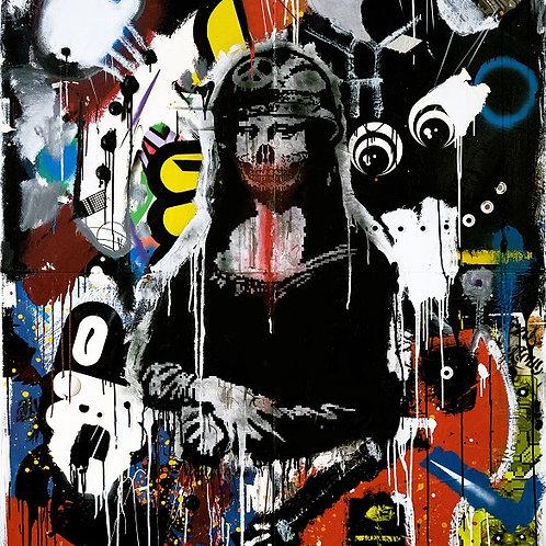 Monalisa  spray painting from Zsolt Gyarmati Street (Graffiti ) original artwork at Deep West Gallery