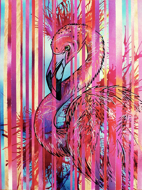 Striped flamingo original painting from British urban artist Emily Donald at Deep West Gallery