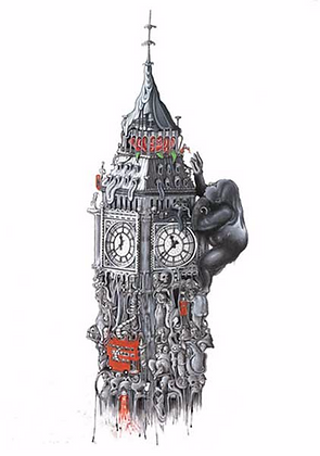 Big Ben (water color ) print from Richard Berner, Urban  art artwork at Deep West Gallery