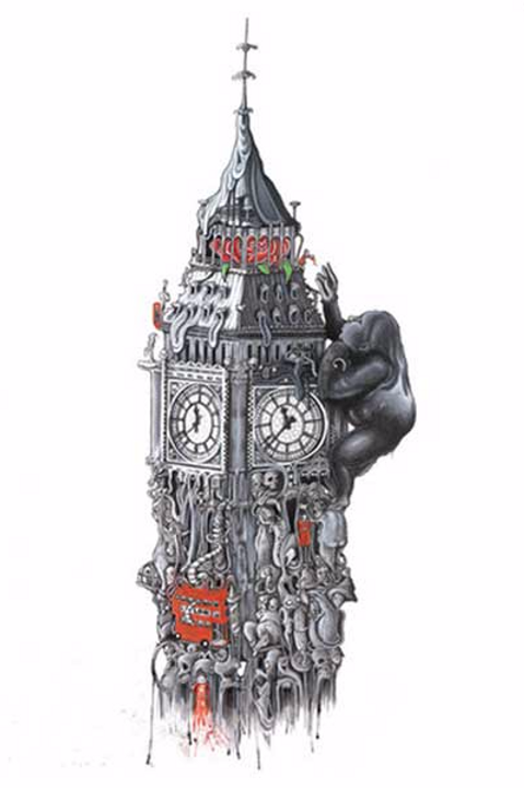 Big Ben (water color ) print from Richard Berner, Urban  art artwork at Deep West Gallery