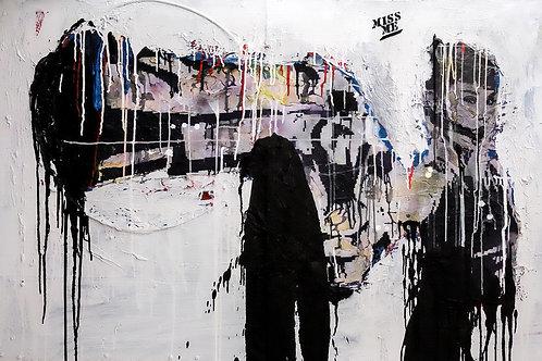 Buddhist house spray painting from Zsolt Gyarmati Street (Graffiti ) original artwork at Deep West Gallery