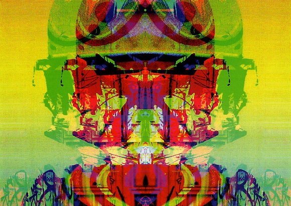 The machine god from Agent X's abstract artworks at Deep West Gallery