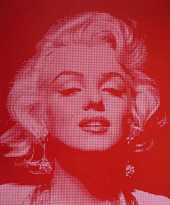 Marilyn Monroe portrait silk print in pink, urban art by David Studwell at Deep West Gallery