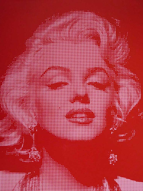 Marilyn Monroe portrait silk print in pink, urban art by David Studwell at Deep West Gallery