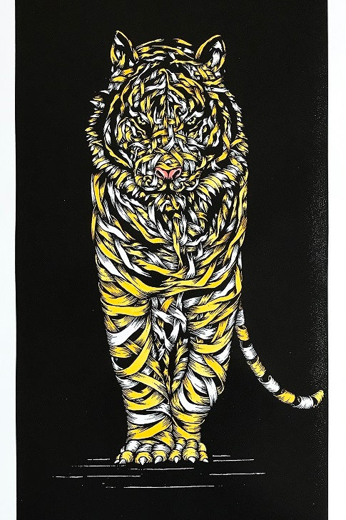 White tiger in yellow, ribbons ,screen print from Otto Schade Street (Graffiti ) artwork at Deep West Gallery