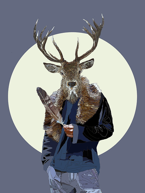 hybrid  stag print from Paul Kingsley Squire Urban art artwork at Deep West Gallery
