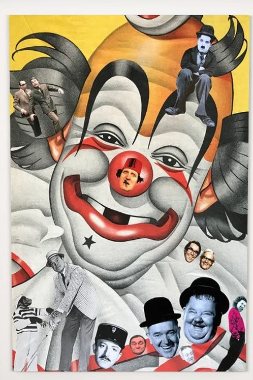 collage, clowns, white