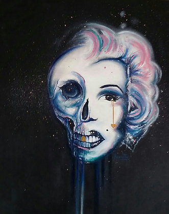 Marilyn Monroe portrait, Acrylic and oil on canvas, Street art, by Annette Jansen at Deep West Gallery