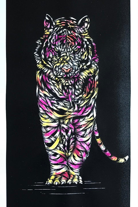White tiger in pink and yellow, ribbons ,screen print from Otto Schade Street (Graffiti ) artwork at Deep West Gallery