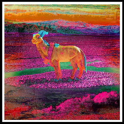 Plastic goat digital painting canvas, Pop art by Gordon Coldwell at Deep West Gallery