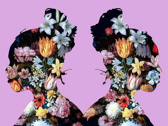Flower portrait of Elanna in Purper, Urban art by Agent X at Deep West Gallery