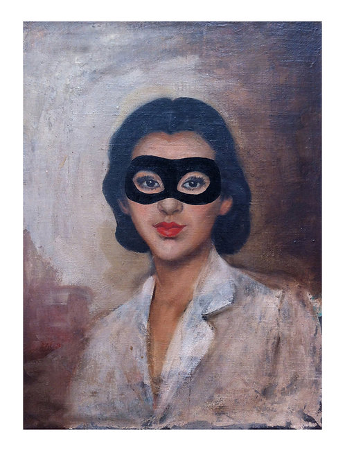 Zorro Lady with eye mask portrait, Giclee print from Shuby, Urban and Street  art artwork at Deep West Gallery