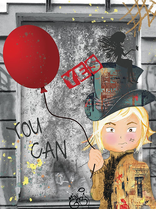 Yes you can  Girl Portrait ,  giclee print - Mini Gabi Urban artwork ,at Deep West Gallery