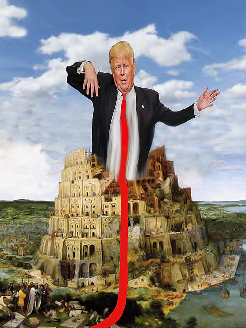 Trump tower digital painting canvas, Pop art by Gordon Coldwell at Deep West Gallery