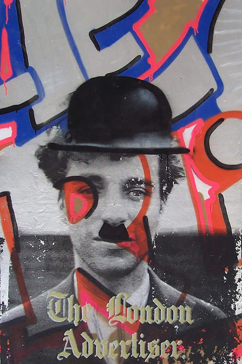 Charlie Portrait mixed media painting, Street art, by Crail Moansburg at Deep West Gallery