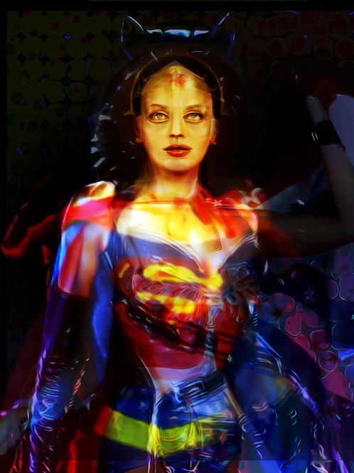 super heroines abstract digital painting canvas, Pop art by Gordon Coldwell at Deep West Gallery