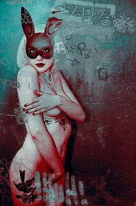 Sexy Bunny beauty portrait- Urban art -  by Deadmansdust at Deep West Gallery