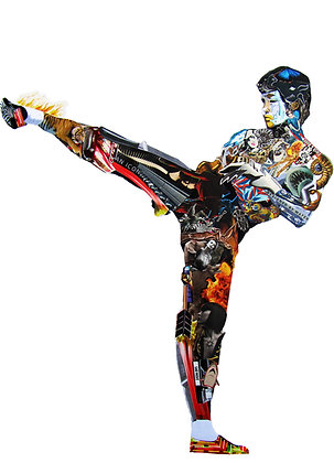 Bruce Lee's portrait print from Glil Collage artwork at Deep West Gallery