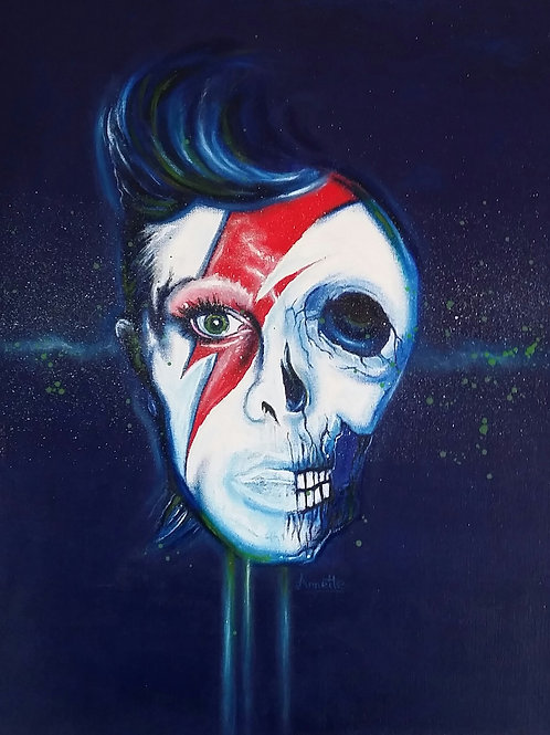 David Bowie portrait, Spray Painting and oil on canvas, Street art, by Annette Jansen at Deep West Gallery