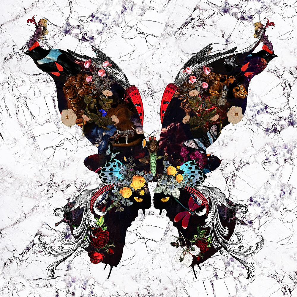 Marble,butterfly, flowers