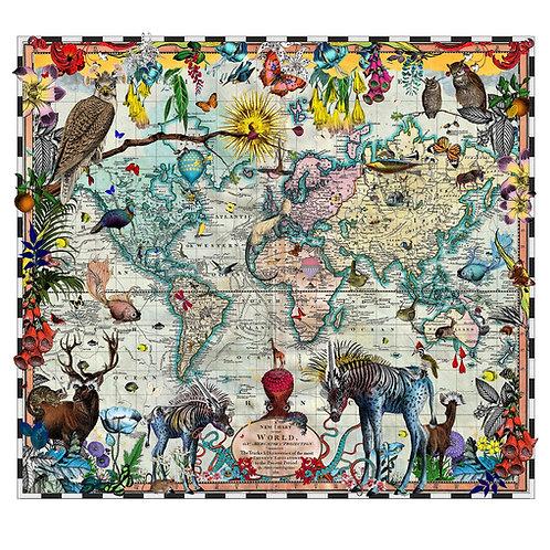 Eminent Navigators' world chart print, Urban and Street art by Kristjana S Williams at Deep West Gallery