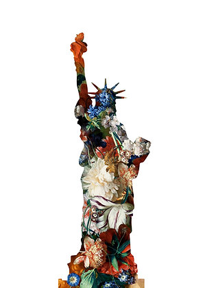 Flower portrait in white of the liberty status , Urban art by Agent X at Deep West Gallery