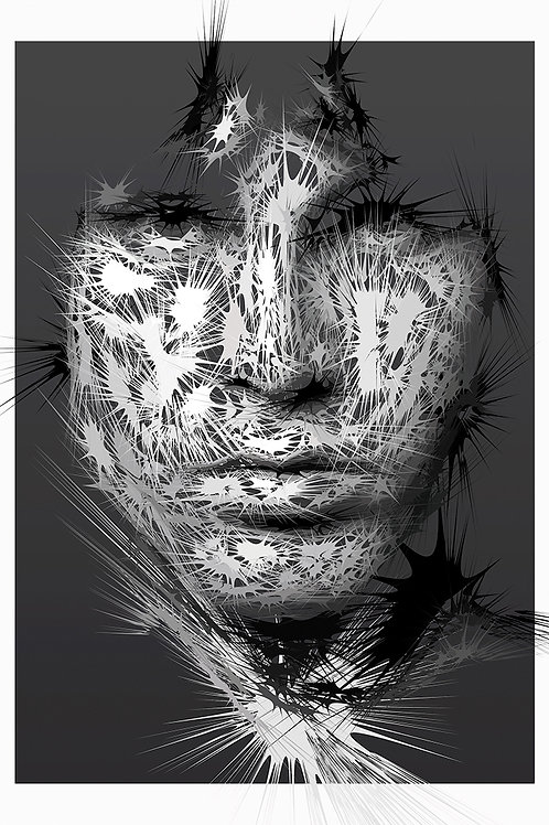 King lizard portrait, Digital art, urban artwork by Andrea Visconti at Deep West Gallery