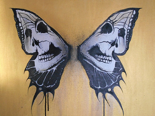 Skull butterfly painting, Acrylic and oil on canvas, Street art, by Annette Jansen at Deep West Gallery